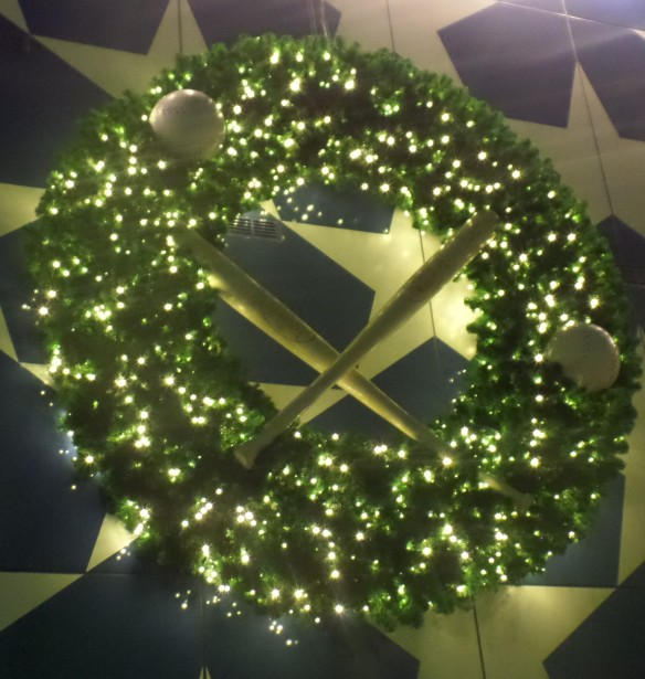 A traditional Rickeymas wreath at the All-Star Sports Resort at Walt Disney World.