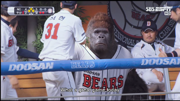 A Gorilla sitting on the bench... also funny.