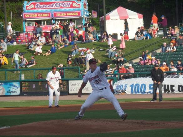 Trevor May deals during a game in May in Rochester. Photo by Dan Glickman.