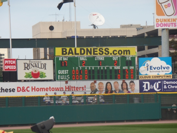"It was still early, but here's how the scoreboard looked, complete with makeshift ""Bulls"" sign."
