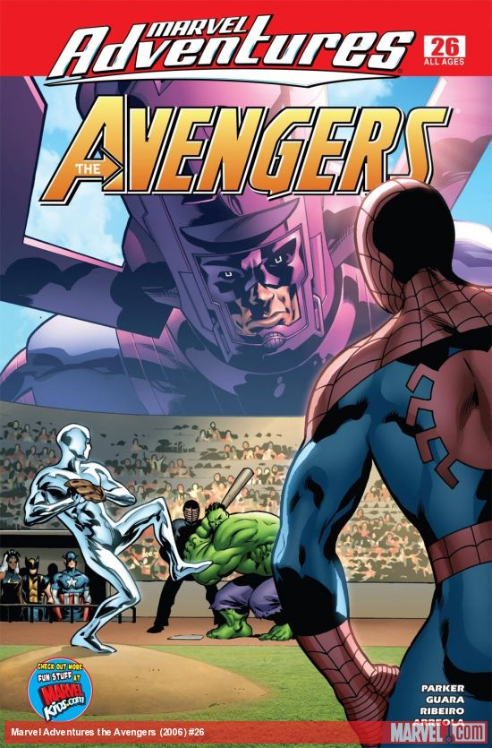 Image of cover of magazine, featuring Galactus looking down at the Silver Surfer, Hulk and Spider-Man playing baseball.