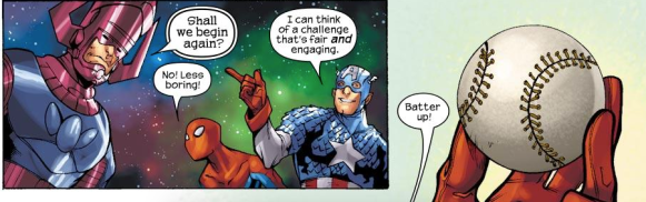 Captain America proposes a game of baseball.