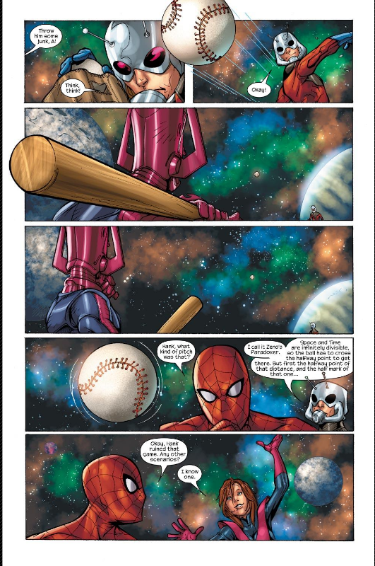 Page of baseball getting pitched to Galactus but stopping.
